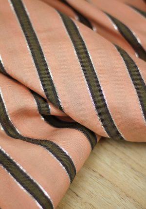 Viscose à rayures pêche-kaki par Little Fabrics